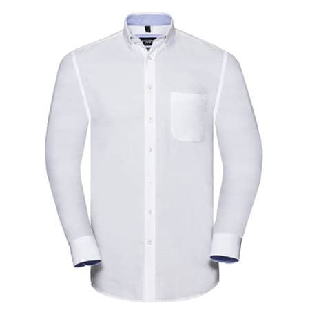 Men`s Long Sleeve Tailored Washed Oxford Shirt in White Oxford Blue von Russell (Artnum: Z920