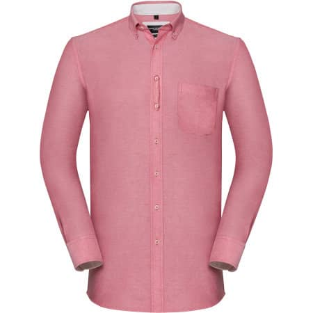 Men`s Long Sleeve Tailored Washed Oxford Shirt von Russell Collection (Artnum: Z920