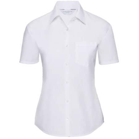 Ladies` Short Sleeve Polycotton Poplin Shirt in White von Russell Collection (Artnum: Z935F