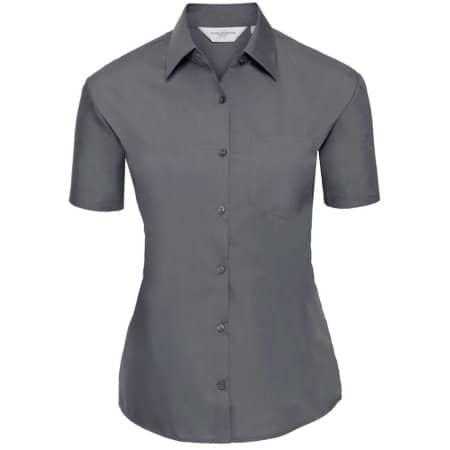 Ladies` Short Sleeve Polycotton Poplin Shirt von Russell Collection (Artnum: Z935F