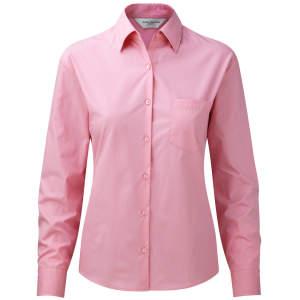 Ladies` Long Sleeve Pure Cotton Poplin Blouse