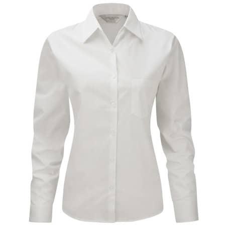 Ladies` Long Sleeve Pure Cotton Poplin Blouse in White von Russell Collection (Artnum: Z936F