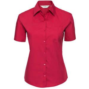 Ladies` Short Sleeve Pure Cotton Poplin Shirt