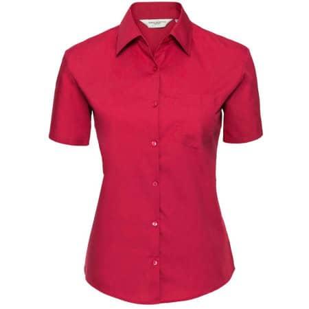 Ladies` Short Sleeve Pure Cotton Poplin Shirt von Russell Collection (Artnum: Z937F