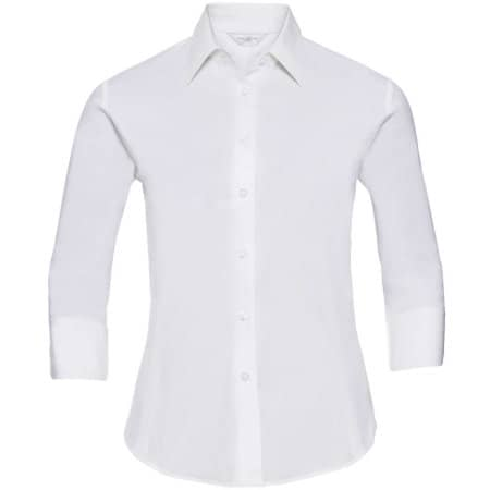 Ladies` 3/4 Sleeve Fitted Shirt in White von Russell Collection (Artnum: Z946F
