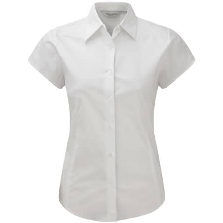 Ladies` Short Sleeve Fitted Shirt in White von Russell Collection (Artnum: Z947F