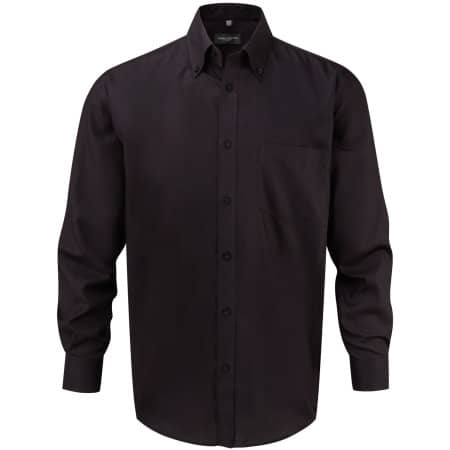 Men`s Long Sleeve Ultimate Non-Iron Shirt in Black von Russell Collection (Artnum: Z956