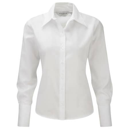 Ladies` Long Sleeve Ultimate Non-Iron Shirt in White von Russell Collection (Artnum: Z956F