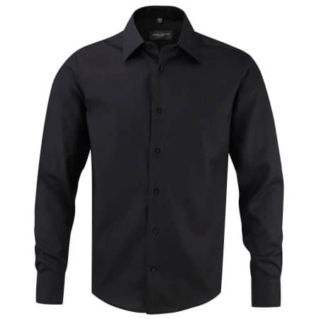 Men`s Long Sleeve Tailored Ultimate Non-Iron Shirt in Black von Russell Collection (Artnum: Z958