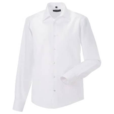 Men`s Long Sleeve Tailored Ultimate Non-Iron Shirt in White von Russell Collection (Artnum: Z958