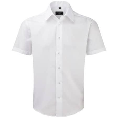 Men`s Short Sleeve Tailored Ultimate Non-Iron Shirt in White von Russell (Artnum: Z959