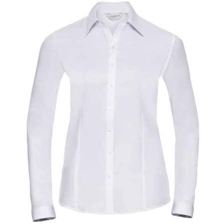 Ladies` Long Sleeve Herringbone Shirt in White von Russell Collection (Artnum: Z962F