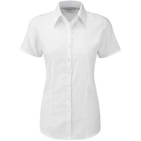Ladies` Short Sleeve Herringbone Shirt in White von Russell Collection (Artnum: Z963F