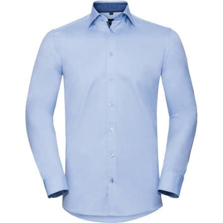Men`s Long Sleeve Tailored Contrast Herringbone Shirt von Russell Collection (Artnum: Z964