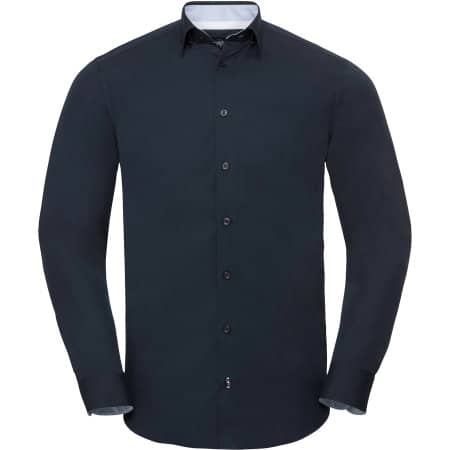 Men`s Long Sleeve Tailored Contrast Ultimate Stretch Shirt von Russell Collection (Artnum: Z966
