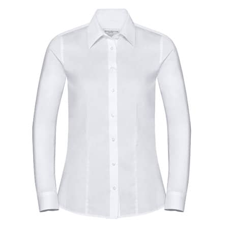 Ladies` Long Sleeve Tailored Coolmax® Shirt in White von Russell Collection (Artnum: Z972F